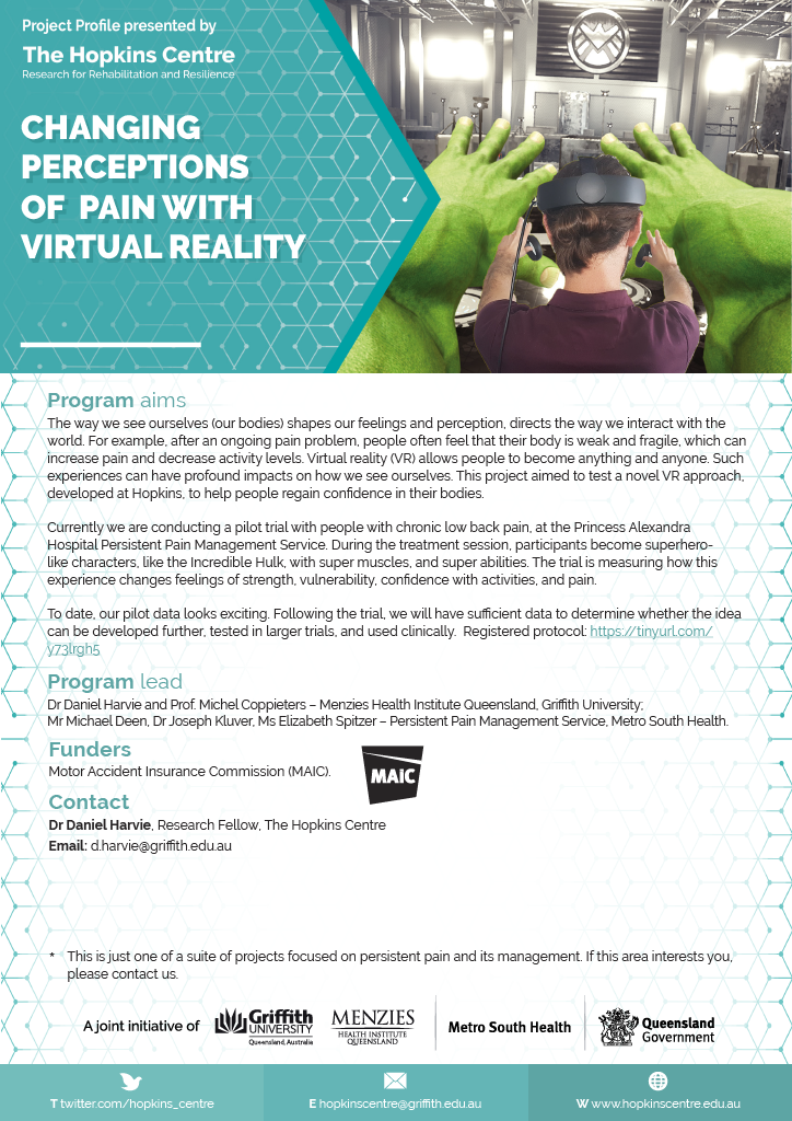 Virtual reality pain project flyer